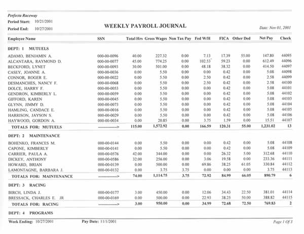 perfecta systems inc payroll weekly payroll journal sample